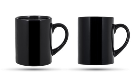 Black mug or cup isolated on white