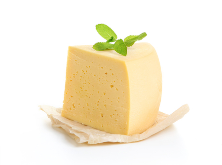 Piece of cheese isolated on white background. Фото со стока