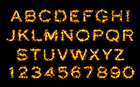 flame alphabet: Fire font collection, Fire text collection. Alphabet of flame