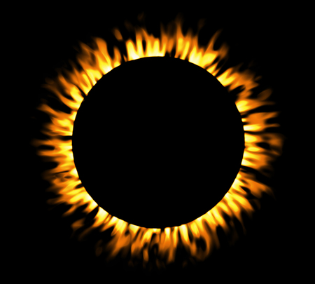 solar eclipse: Solar eclipse, round fire frame, shining circle banner