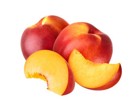 Ripe juicy nectarines isolated on white background