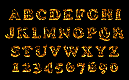 flame letters: Fire font collection, Fire text collection. Alphabet of flame