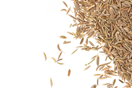caraway: Cumin seeds or caraway isolated on white background, top view