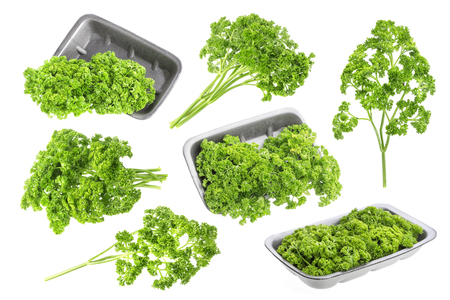 Parsley in plastic wrap packaging isolated on white background Stock Photo