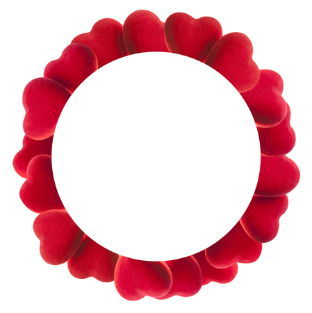 Round frame of red hearts isolated on white Stock Photo