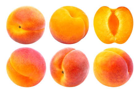 Apricot isolated. Collection of whole and cut apricots isolated on white background with clipping path Imagens - 80059927