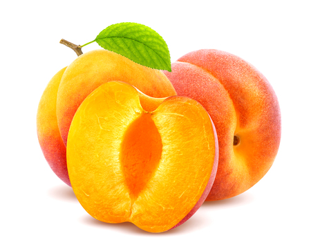 Apricots on white background Stock Photo