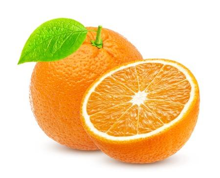 Orange isolated. One whole orange and half isolated on white background