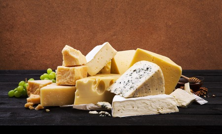 Group of various cheeses