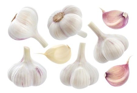 Garlic isolated on white background. Collection Stock fotó