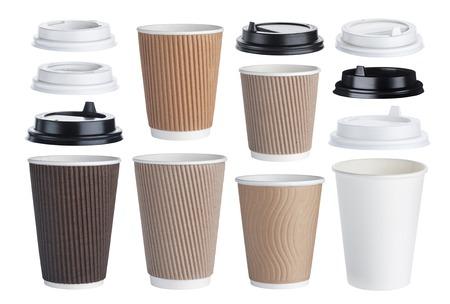 일회용 종이 커피 컵 흰색 배경에 고립. 수집