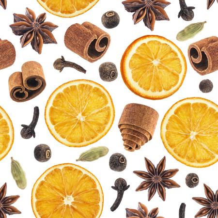Seamless pattern of christmas spices 版權商用圖片