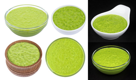 Wasabi sauce isolated on white background. Collection