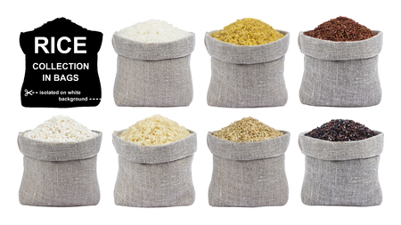 Rice isolated on white background. Collection of different types of rice in bags.
