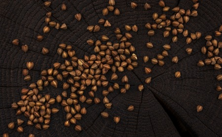 Heap of buckwheat grain on black wooden background. Top view