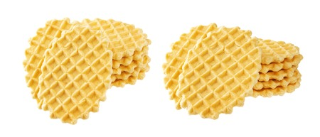 Stack of belgian waffles isolated on white background