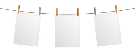 Empty paper sheet hanging on rope, isolated on white background, mock up for your project, poster template 版權商用圖片