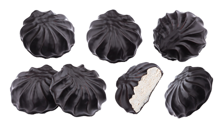 Chocolate covered marshmallows, traditional russian zephyr in chocolate isolated on white background