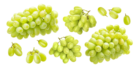 Green grape isolated on white background, collection