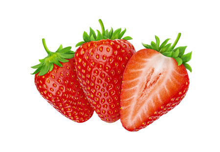 Three strawberries isolated on white background with clipping path