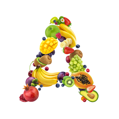 Letter A made of different fruits and berries, fruit alphabet isolated on white background Imagens