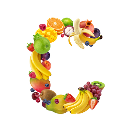 Letter C made of different fruits and berries, fruit alphabet isolated on white background Imagens