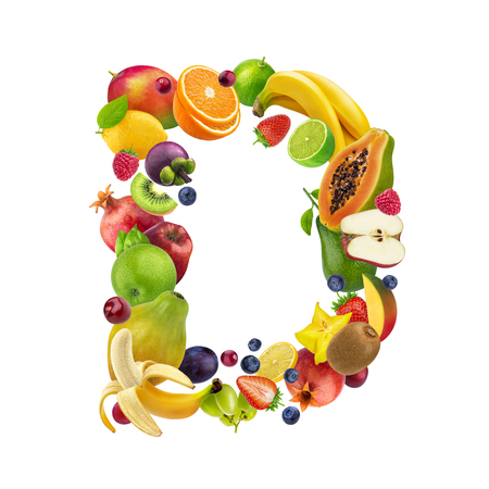 Letter D made of different fruits and berries, fruit font isolated on white background, healthy alphabet