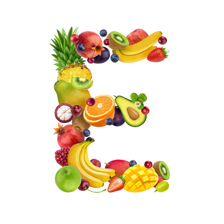 Letter E made of different fruits and berries, fruit font isolated on white background Stockfoto