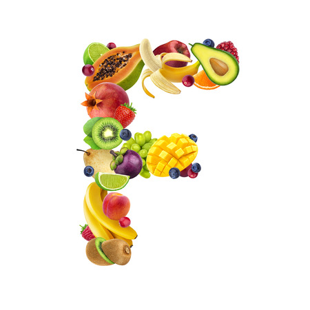 Letter F made of different fruits and berries, fruit alphabet isolated on white background Stockfoto