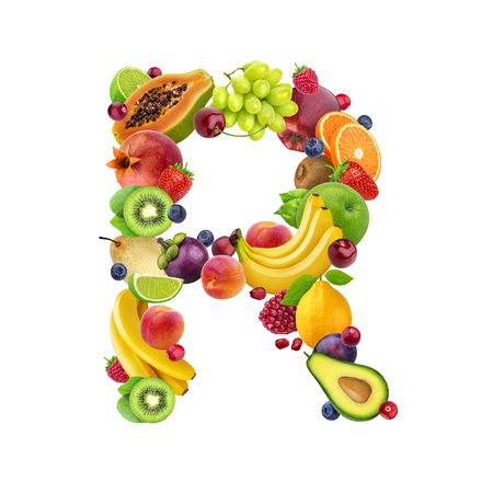 Letter R made of different fruits and berries, fruit alphabet isolated on white background