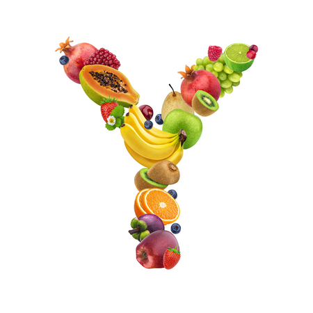 Letter Y is made of different fruits and berries, fruit font isolated on white background with clipping path, healthy alphabet Stockfoto
