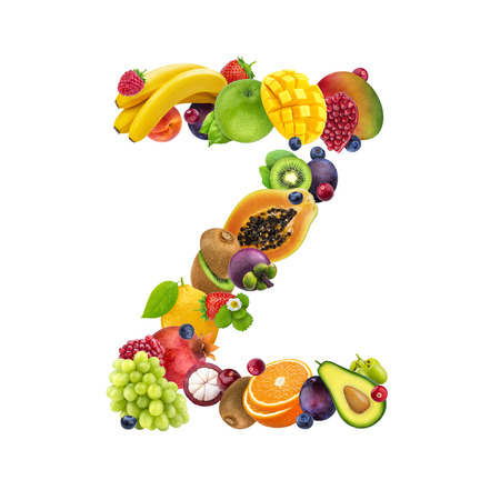 Letter Z made of different fruits and berries, fruit alphabet isolated on white background