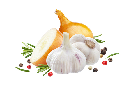 Garlic, onion and rosemary herb isolated on white background 스톡 콘텐츠