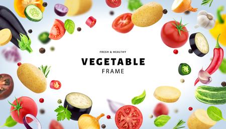 白い背景に隔離された野菜、異なる飛ぶ野菜、ハーブ、スパイスで作られたフレーム、コピースペース付き 写真素材