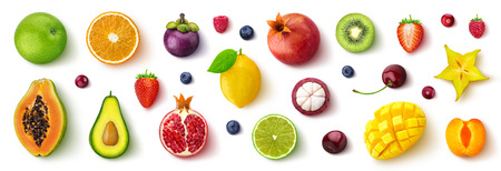 Surtido de diferentes frutas y bayas, endecha plana, vista superior Foto de archivo