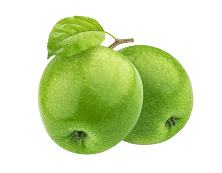 Two green apples on branch isolated on white background