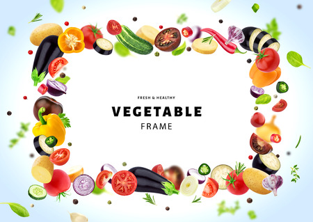 Vegetable isolated on white background, frame made of different flying vegetables, herbs and spices, with copy space