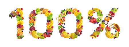 100% sign made from fruits and berries isolated on white background, 100% natural concept Stock Photo