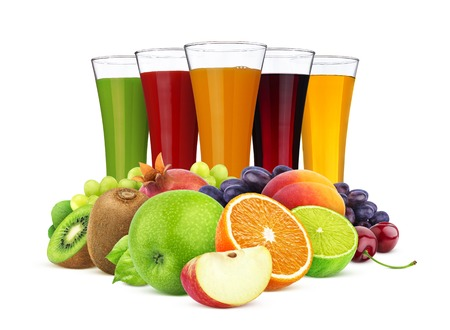 Glasses of different juice, fruits and berries isolated on white background