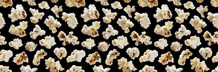 Popcorn seamless pattern. Pop corn on black background