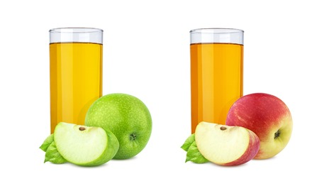 Glass of fresh apple juice and piece of fruit isolated on white background with clipping path