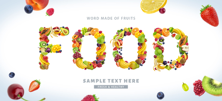 Word FOOD made of different fruits and berries