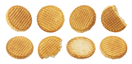 Butter cookies collection, biscuits isolated on white background