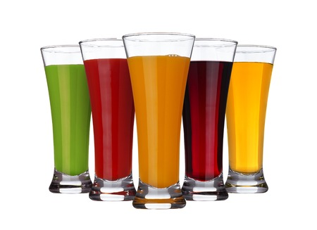 Fruit juice concept, glasses of different juices of fruits and vegetables isolated on white background Stock Photo