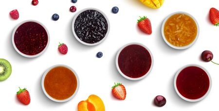Berry and fruit jams isolated on white background, top view Reklamní fotografie
