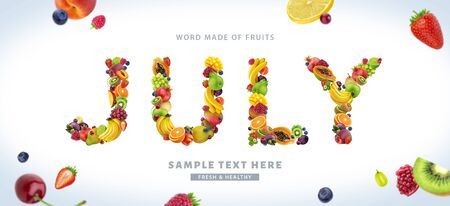 Word JULY made of different fruits and berries, fruit font isolated on white background Stock Photo