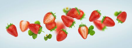 Strawberry isolated on gray background, falling strawberries