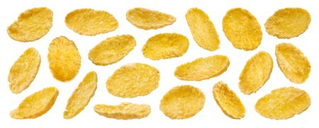 Sweet corn flakes isolated on white background with clipping path, collection