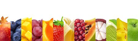 Fruits in stripes closeups collage. Trendy organic farming produce background. Ripe juicy fruits, berries backdrop. Exotic, tropical summer salad ingredients. Eco agricultural products Banco de Imagens