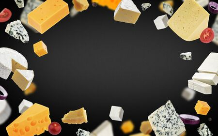 Cheese frame on black background, different types of cheese